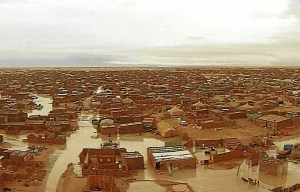Campamento saharaui inundado