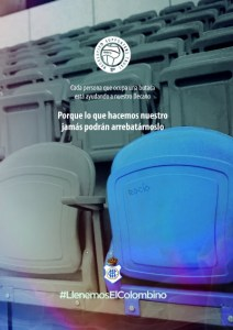Cartel de la campaña del Recreativo Supporters Trust #LlenemosElColombino.
