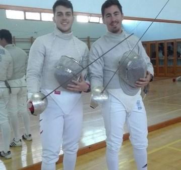 Borja Delgado y Pablo Rodríguez, tiradores del Club Esgrima Huelva.