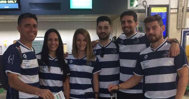 Equipo del Recreativo IES La Orden en el Campeonato de Europa de clubes de bádminton.
