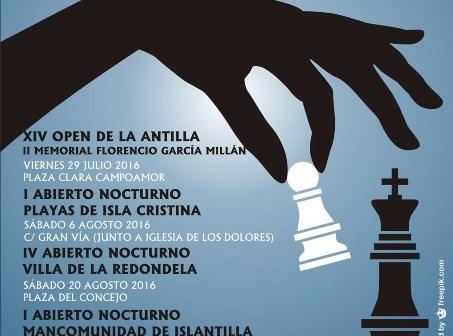 Cartel I Abierto Nocturno de Ajedrez Mancomunidad de Islantilla.