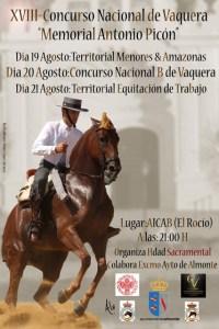 Cartel del Campeonato de Doma Vaquera en El Rocío.