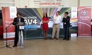 Francisco Fernandez, Carolina Marin, Ramón Nimo y Antonio Ramos en la sede de Toyota en Huelva.