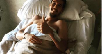Ale Zambrano, futbolista del Recreativo, tras la operación.