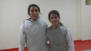 María Haba y Ana Serrano, floretistas onubenses.