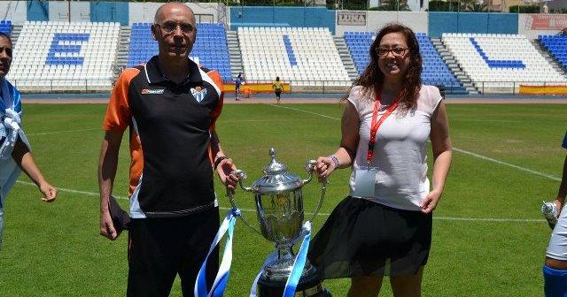 Manuela Romero y Antonio Toledo, presidenta y entrenador del Cajasol Sporting.