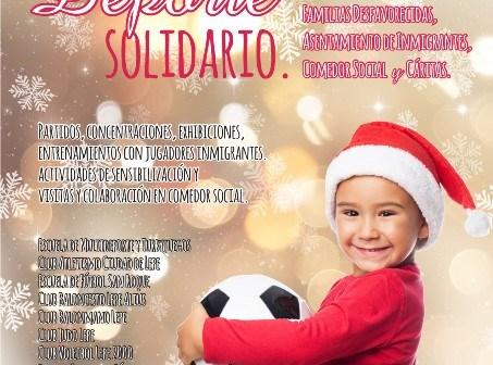 Cartel de Navidad solidaria y deporte en Lepe.