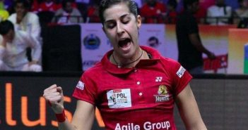 Carolina Marín, compitiendo en la Liga India.