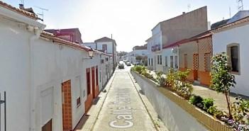 Imagen de la calle Cervantes de Minas de Riotinto.