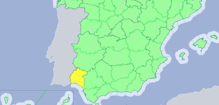 Alerta amarilla por riesgo de lluvias en Huelva