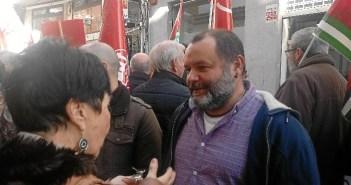 Rafael Sánchez Rufo en movilización reciente en defensa de las pensiones dignas en Huelva