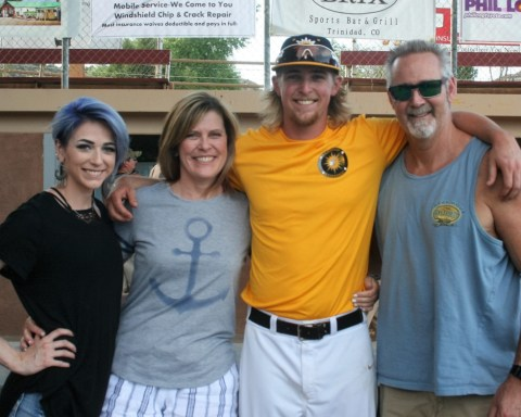 HAPPY FATHER'S DAY!  Trigger pitcher, Christian Schneider enjoys a Father's Day moment with his family who drive down from Denver to see him play.  Pictured are his sister, Sami, his Mom, Jenny, Schneider, and his Dad, Brian.