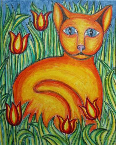 Le chat dans les tulipes