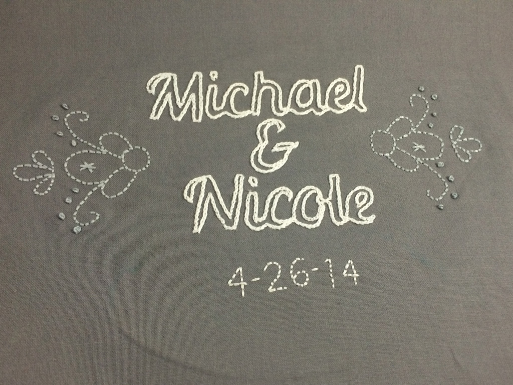 Wedding Gift Embroidery by Hugs are Fun