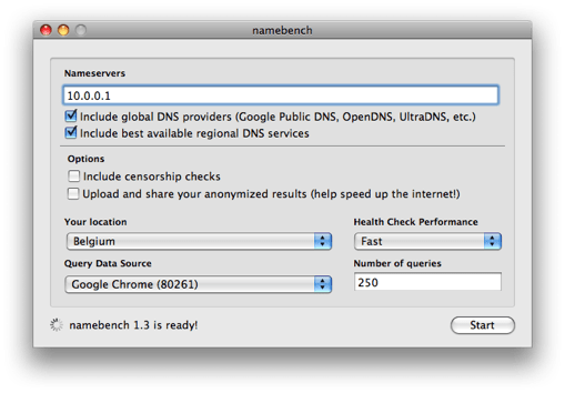 namebench_interface Melhorando a internet com a escolha do melhor DNS