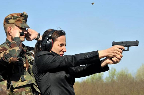 Eleni Kounalakis at a joint training seesion of Hungarian troops and the Ohio National Guard, April 2011
