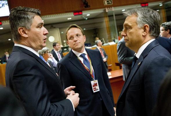 Zoran Milanović and Viktor Orbán in Brussels, October 15, 2015 MTI / Európai Tanács / Enzo Zucchi