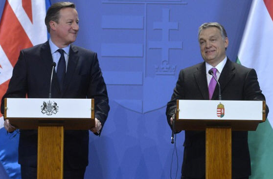 David Cameron and Viktor Orbán at the press conference in Budapest