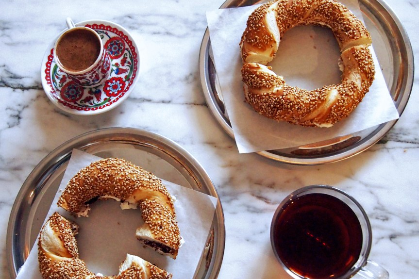 Simit sandwiches and Turkish coffee and tea.