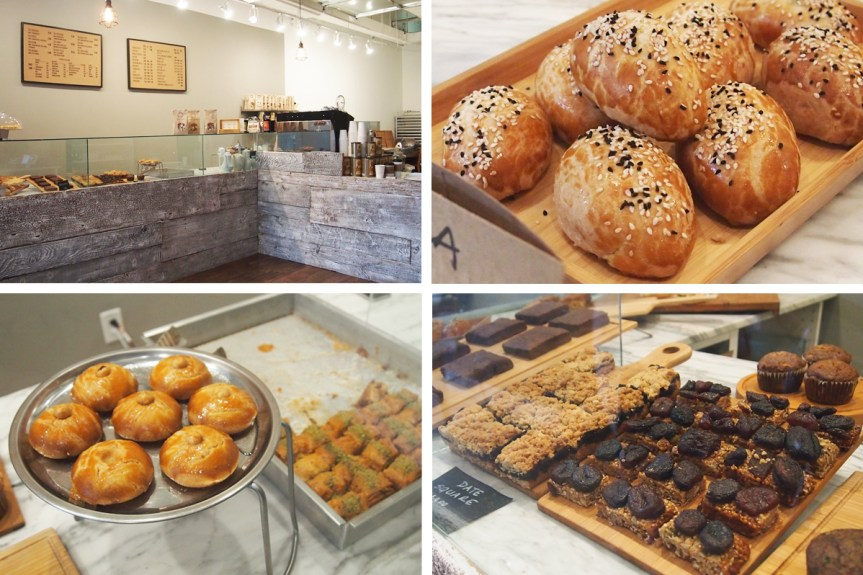 """Clockwise from the top left: Cafe counter, """"pogaca"""" pastries filled with feta, date squares and granola bars, and honey cookies and baklava."""
