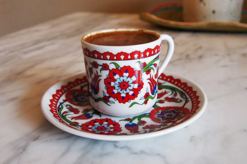 Turkish coffee in a cute ceramic cup.