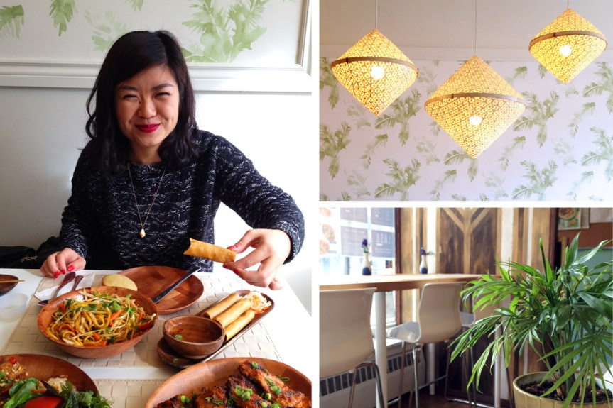 Clockwise from left: happy with my mouth full of lumpia, bamboo lights and a glimpse at the decor.