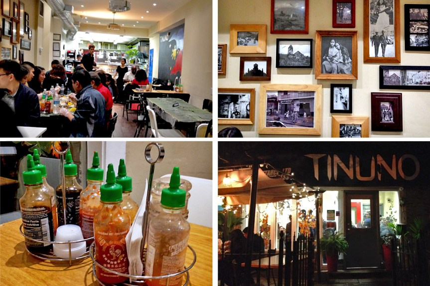 Clockwise from left to right: dining area with one larger table completely covered in banana leaves, gallery wall of vintage photos, the view from outside (note how busy it is in the doorway) and a caddy of different sauces.