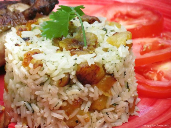 Sweet Plantains and Cilantro Rice