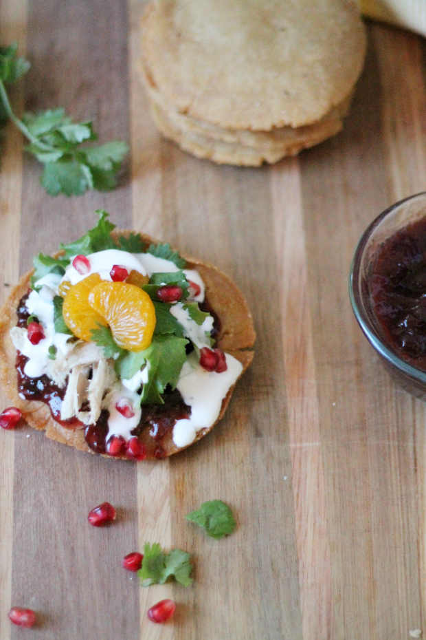Turkey Tostadas with Mexican Cranberry Sauce