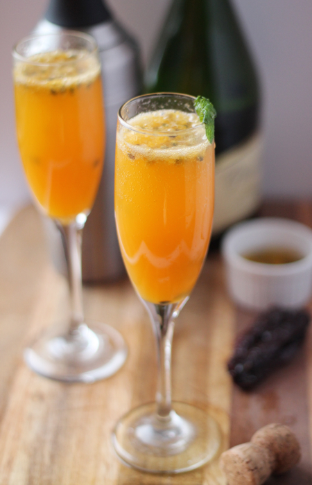 Passion Fruit Chili Spritzer Cocktail with Champagne- A stylish party drink full of tropical flavor and the right kick of he