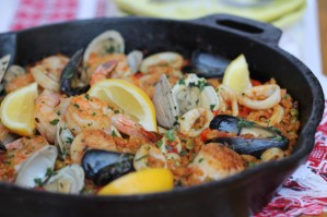 Farro Seafood Paella - incredibly flavorful