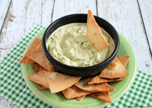 Creamy Green Chile Avocado Dip + Homemade Tortillas   |    hungryfoodlove.com