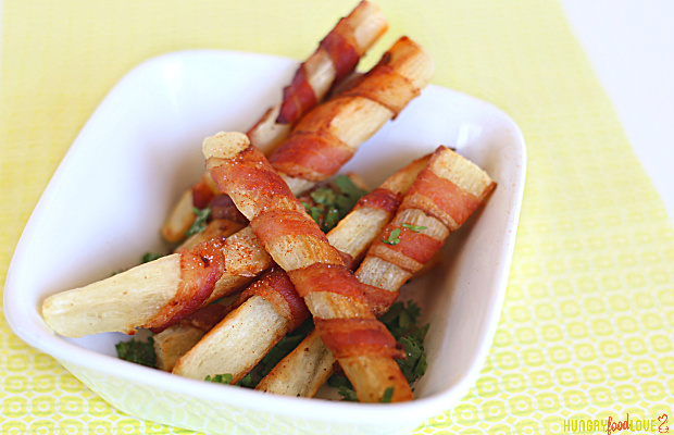 Bacon Wrapped Yuca Fries | @hungryfoodlove.com