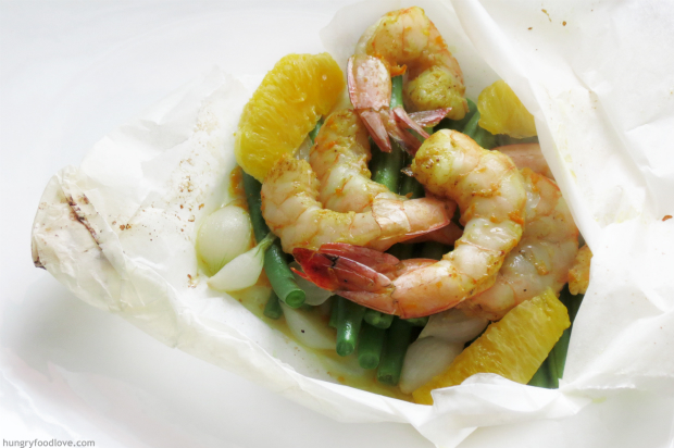 Curry-Orange Shrimp en Papillote - Healthy and sooo Tasty!