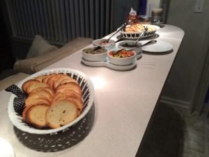 crostini, bruschetta, eggplant, olives, dinner party, entertain