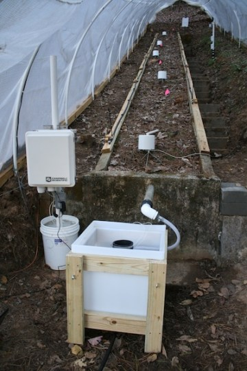 Hewlett hillslope at Coweeta set up for irrigation experiment.