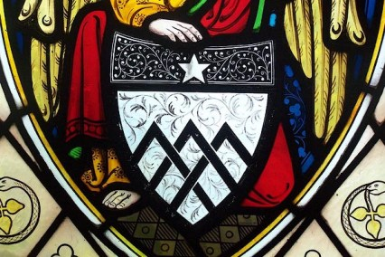 Detail from stained glass window of St. Cuthbert's Church, Cliburn