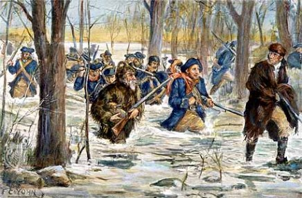 Clark's march to Vincennes—the most celebrated event of his career—depicted in this illustration by F. C. Yohn