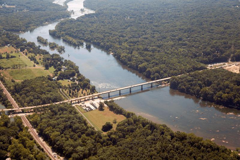 Huguenot Bridge over James River, upstream of Richmond and downstream from Manakin-Sabot Source: Virgina Department of Transportation, Huguenot Bridge reconstruction (photo by Trevor Wrayton, VDOT)