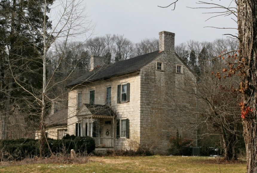 """Olympia Dupuy Trabue House (listed 23 Jun 1983 on the National Register of Historic Places as the """"Dupuy, Joel House"""", also known as """"Stanley Lonesome""""), 640 Griers Creek Road, Tyrone, Kentucky; lat/long coordinates: 38° 0′ 52″ N, 84° 47′ 49″ W (photo provided by Marcia Dale-LeWinter, owner of original image is unknown)"""