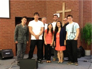The Band with Captain Mark Hall of the Salvation Army (3rd from left).