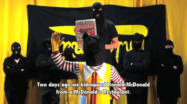 """Jani Leinonen, """"Still from Food Liberation Army: The kidnapping of Ronald McDonald,"""" 2011 (courtesy the artist)"""