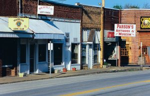 Antique shops in old buildings, Weaubleau, Missouri.