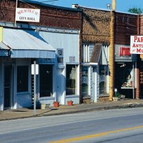 Antique shops in old buildings, Weaubleau, Missouri.