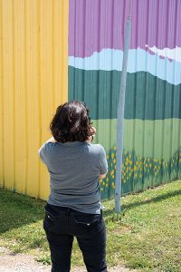 Crystal Payton photographing the Buffalo Missouri flea market mural. (Click to enlarge.)
