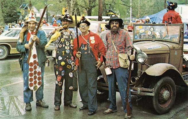 Postcard 1970s. Criticism by the sensitive and denouncements of the politically correct have not dampened these goofy hillbilly reenactors as their mission is to raise money for crippled children.