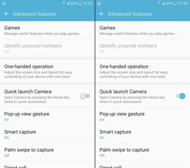 Enable quick camera launch