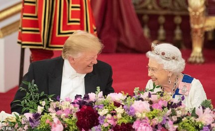 As the President and First Lady boarded Air Force One at Southampton, Sir Kim Darroch breathed a sigh of relief. Their State visit to the UK (pictured with the Queen in Buckingham Palace for the State Banquet) was finally over and, despite minor hiccups, it had been a resounding success