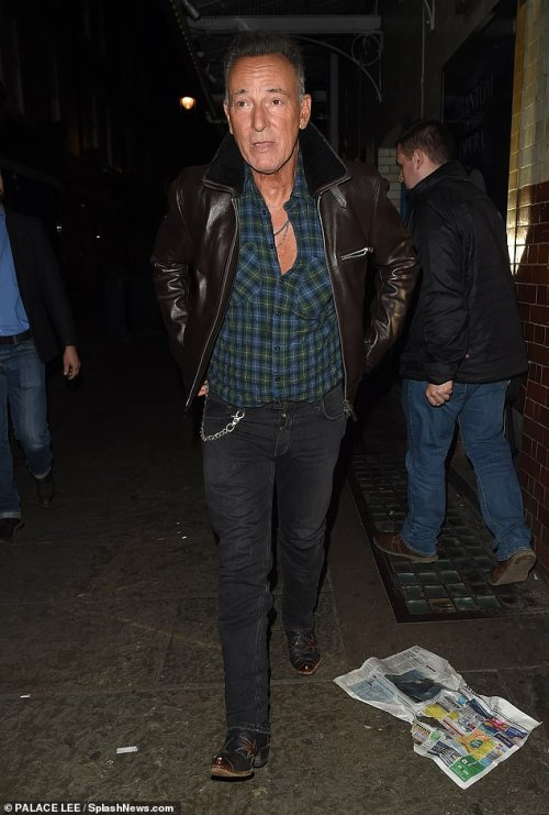 Suave:Bruce donned a dark blue and green plaid shirt for the dinner which he paired with a brown leather jacket and black, slim-fitting jeans and black boots