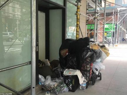 At the moment more than 13,000 homeless people are being housed in 139 hotels across the Big Apple, including three luxury hotels ¿ The Belleclaire, The Lucerne and the Belnord ¿ on the Upper West Side. An unlawful encampment pictured on the Upper West Side on Broadway